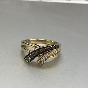 Levian 14kt gold vanilla chocolate diamond ring
